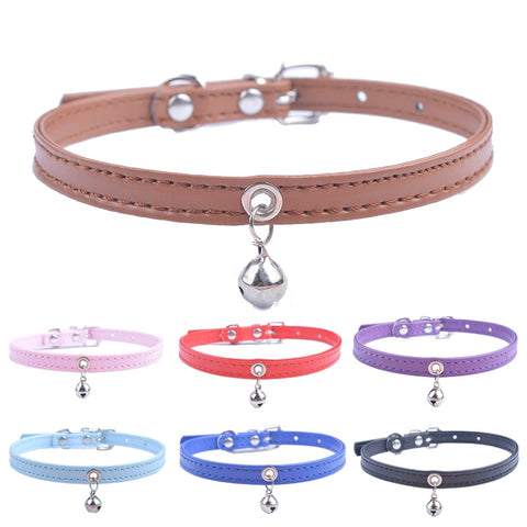 Cute Cat Collar Solid Faux Leather Adjustable Pet Collars With Bell Cat Accessories Pet Supplies