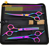 Colorful Hair Cutting Scissors Clippers Flat Tooth Cutting Pet Beauty Tools Set Kit Dogs Grooming Hair Cutting Scissors Set