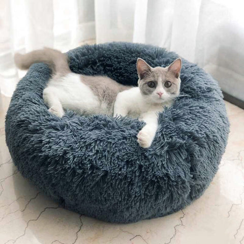 Round Cat & Dog Fluffy Bed Perfect for Winter (Warm Sleeping Bed Mat)