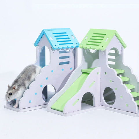 Wooden Staircase and Sleeping House for Small Pets (Hamsters, Chinchillas, Guinea Pigs)