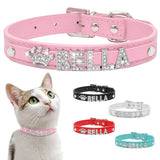 Personalized Collar Rhinestone Puppy Small Dogs and Cats Collars Custom for Chihuahua Yorkshire Free Name