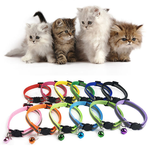 Pet Reflective Collar Adjustable Pet collar Cat Dog collar Safety Buckle Bell Neck Strap