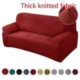 1pc Knitted Thicken Sofa Slipcover Universal Couch Sofa Covers Solid Color Elastic Slipcover Non-slip Full Wrap Seat Covering