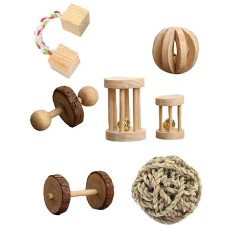 Hamster / Guinea Pig / Chinchilla / Bird / Rabbits / Ferret / Gerbil / Rats Chew, Wooden Toys, 7 Pcs per set