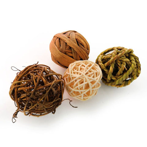 Natural Activity Rattan Ball Toys For Rabbits / Bird / Parrot, 4 pcs per package