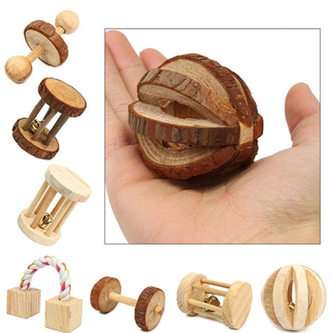 Cute Natural Wooden Rabbits Toys Pine Dumbells Unicycle Bell Roller Chew Toys for Guinea Pigs Rat