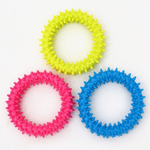 Rubber Chew Biting Thorn Ring Circle (Pet Dogs Toy with Random Color)