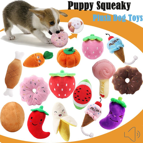 Puppy Dog & Cat Squeaky Stuffed Pet Toy (Foods-design)