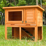 Two-tier Wooden Rabbit Hutch Cage / Coop, Pet Animal Backyard