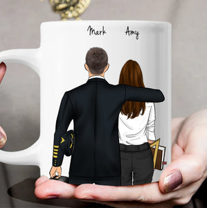 Customize Hand Drawn Mug Gift for Friend -Pilot&Teacher