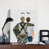 Full Custom Clothing Hand Painted Canvas Hanging Paintings-Boy&Boy