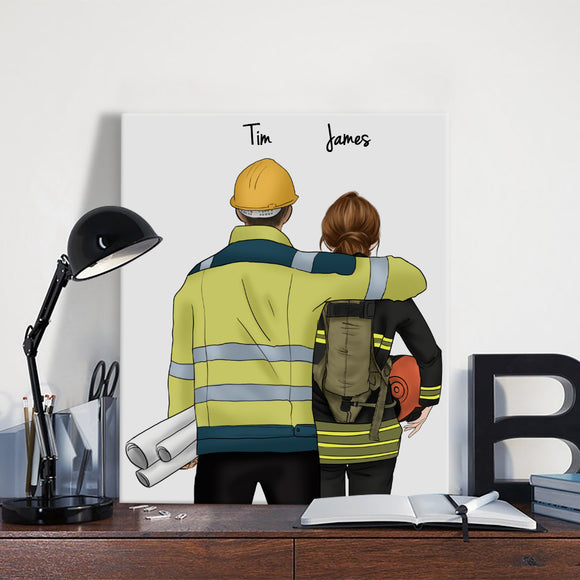 Customize Hand Draw Canvas-Print Gift -EngineerBoy&Firefighter Pompier