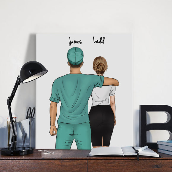 Customize Hand Draw Canvas-Print Gift -Doctors&Secretary