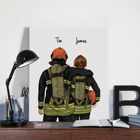 Customize Hand Draw Canvas-Print Gift -Firefighter Man&Girl