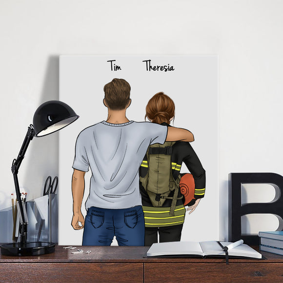 Customize Hand Draw Canvas-Print Gift -Man&Firefighter