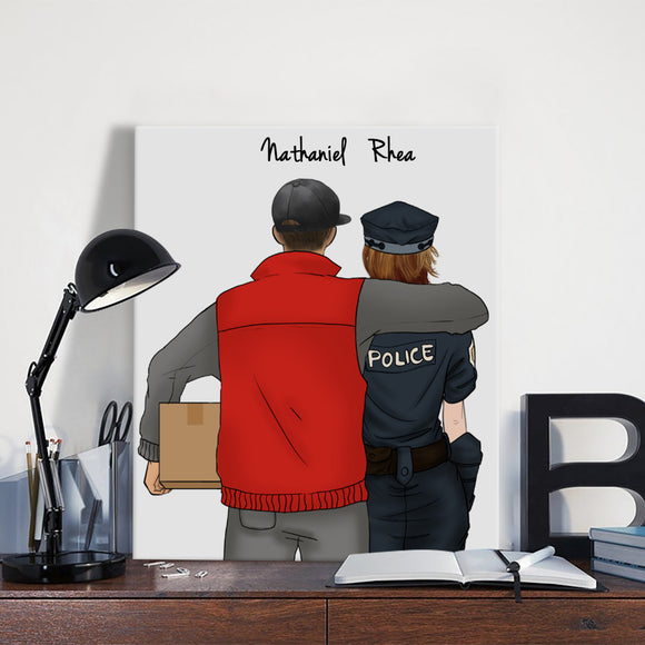 Customize Hand Draw Canvas-Print Gift -Courier&Police