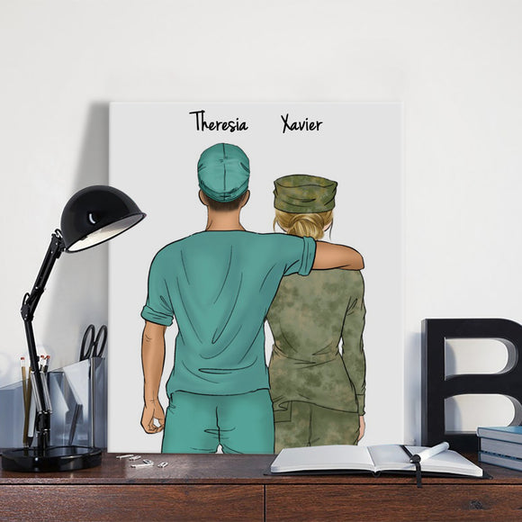 Customize Hand Draw Canvas-Print Gift -Doctor&Soldier