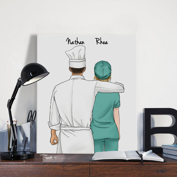 Customize Hand Draw Canvas-Print Gift -Chef&Doctor