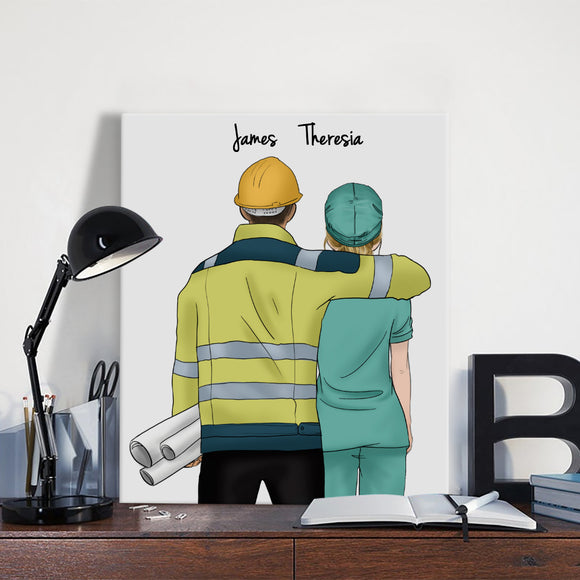 Customize Hand Draw Canvas-Print Gift -Engineer&Doctor