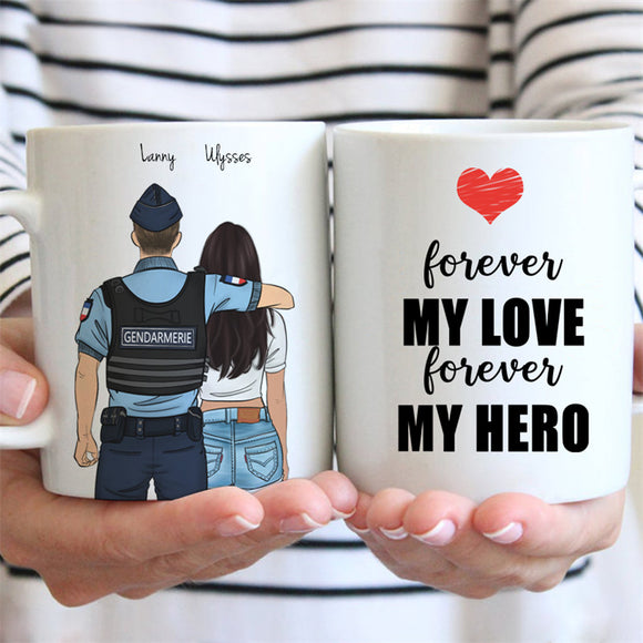 Customize Hand Drawn Mug Gift for Friend -Gendarme Gendarmerie France&Girl