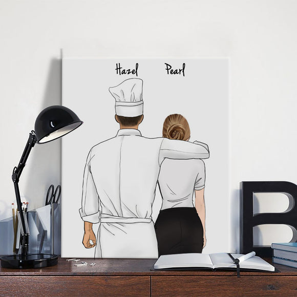 Customize Hand Draw Canvas-Print Gift -Chef&Secretary