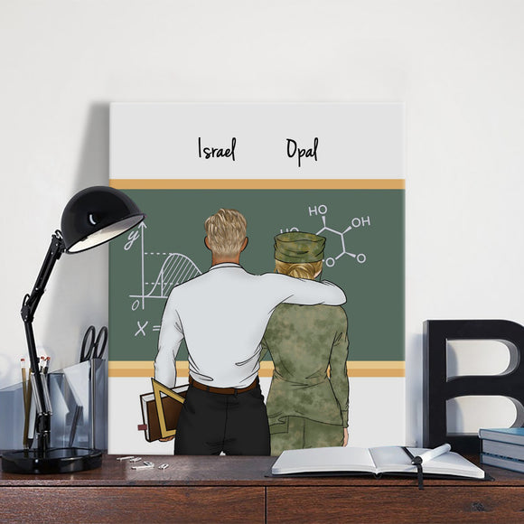 Customize Hand Draw Canvas-Print Gift -Teacher&Soldier