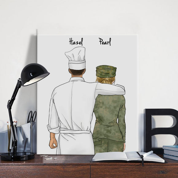 Customize Hand Draw Canvas-Print Gift -Chef&Soldier