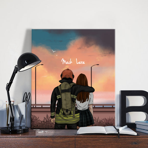 Customize Hand Draw Canvas-Print Gift -Fireman&Girl