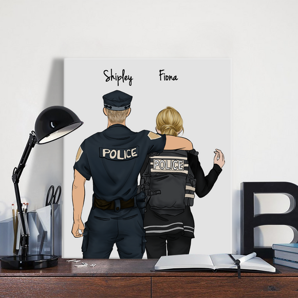 Customize Hand Draw Canvas-Print Gift -Police Man&Girl
