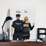 Customize Hand Draw Canvas-Print Gift -Police Sheriff&Girl