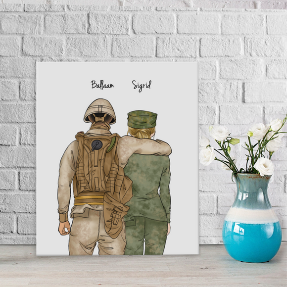 Customize Hand Draw Canvas-Print Gift -Soldier Man&Girl
