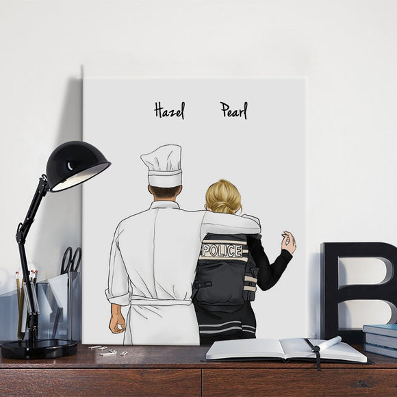 Customize Hand Draw Canvas-Print Gift -Chef&Police