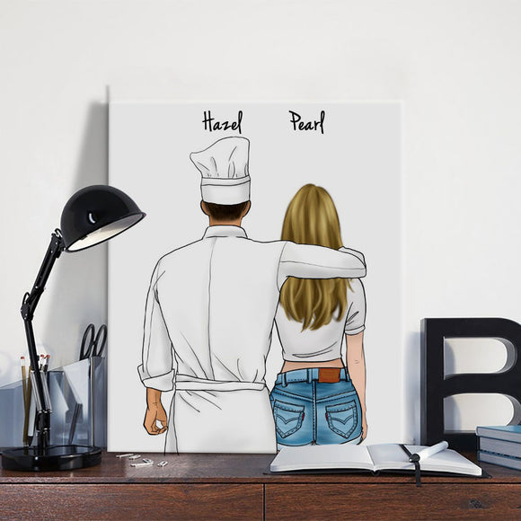 Customize Hand Draw Canvas-Print Gift -Chef&Girl