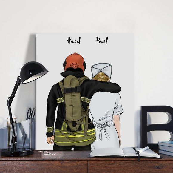 Customize Hand Draw Canvas-Print Gift -Fireman Pompier&Nurse Paramedic