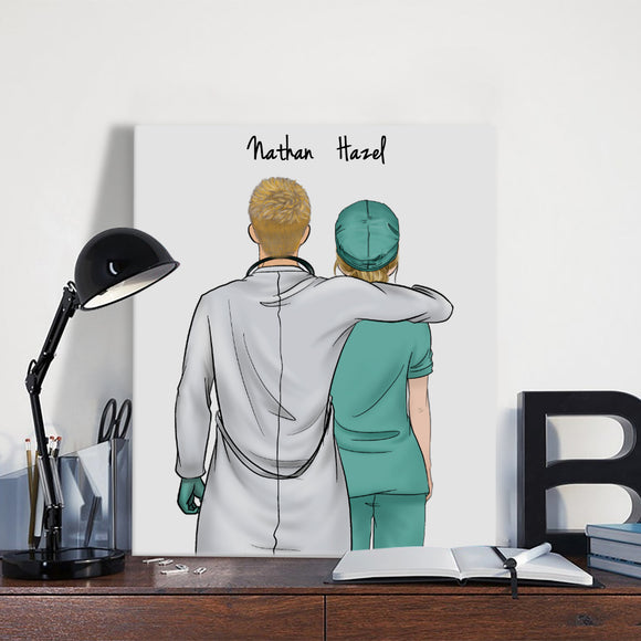 Customize Hand Draw Canvas-Print Gift -Doctor&Nurse