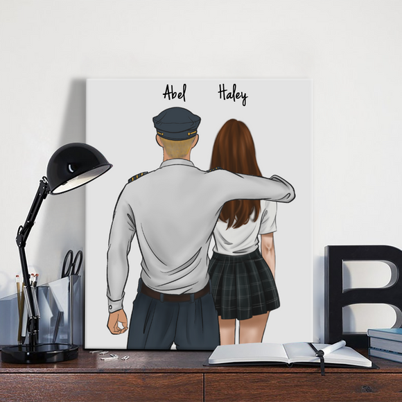 Customize Hand Draw Canvas-Print Gift -Pilot&Girl
