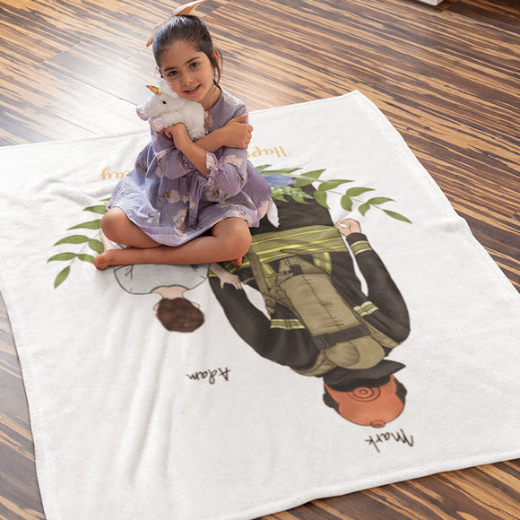 Customize Hand Drawn Blanket Father's Day Gift -Father&Son/Daughter