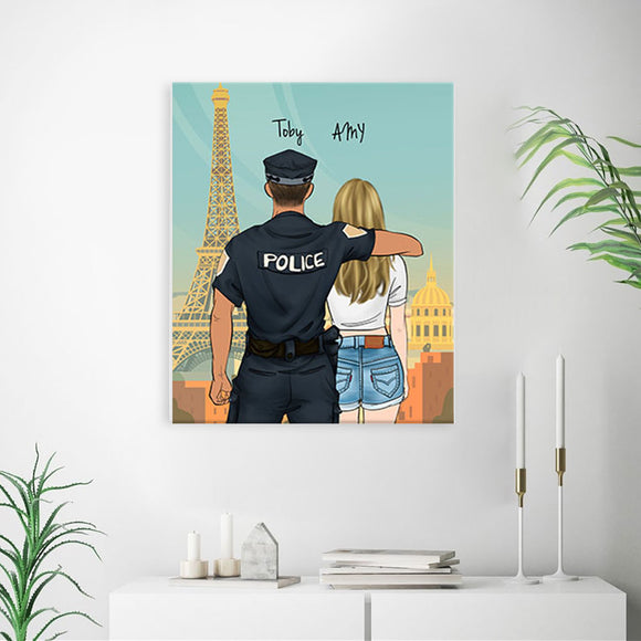 Customize Hand Draw Canvas Print Gift -Police Sheriff&Cowboy Girl