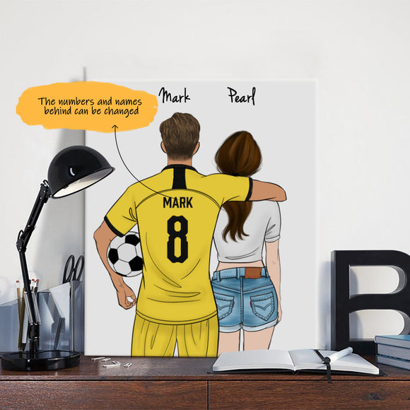 Customize Hand Draw Canvas-Print Gift -Football Player&Girl/Soldier/Police