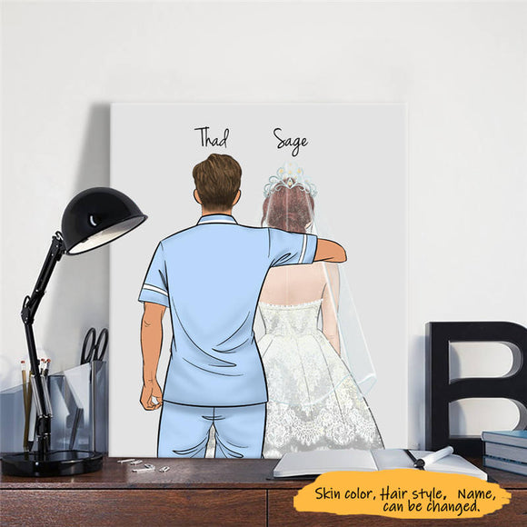 Customize Hand Draw Canvas Print Gift -Paramedic&Girl Wedding