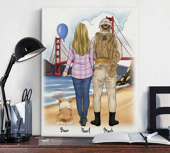 Customize Hand Draw Canvas Print Gift -Soldier&Girl