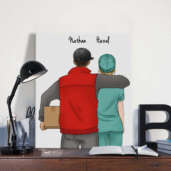 Customize Hand Draw Canvas-Print Gift -Courier&Doctor