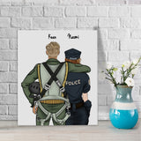 Customize Hand Draw Canvas-Print Gift -pilot&Police