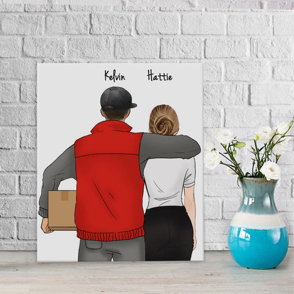 Customize Hand Draw Canvas-Print Gift -Courier&Secretary