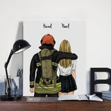 Customize Hand Draw Canvas-Print Gift -Fireman Pompier&Girl