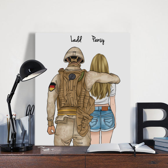 Customize Hand Draw Canvas-Print Gift -Soldier&Girl-Germany