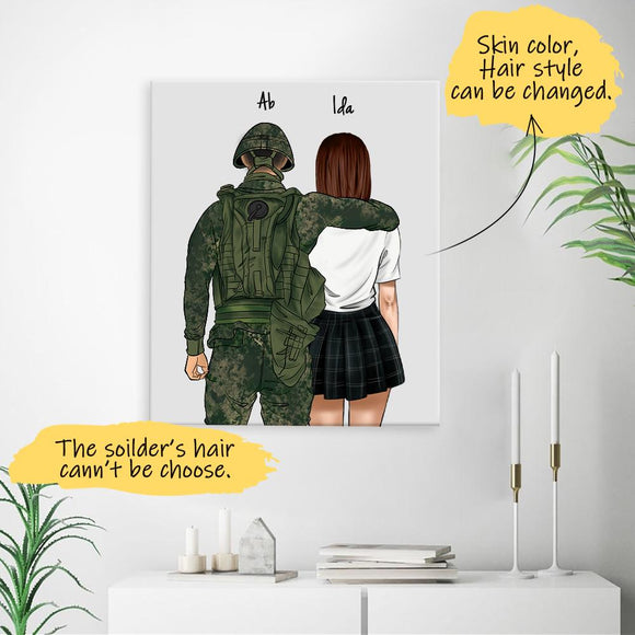 He is My Pride! Handraw Custom Canvas-Print Gift -Soldier4 & Girl