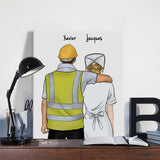 Customize Hand Draw Canvas-Print Gift -Builder&Nurse Paramedic