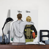 Customize Hand Draw Canvas-Print Gift -Doctor&Firefighter Pompier