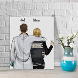 Customize Hand Draw Canvas-Print Gift -Doctor&Police